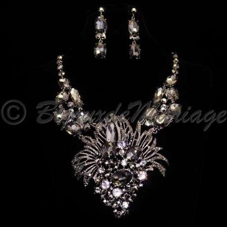 Parure bijoux fantaisie FÊTE, cristal noir, structure rhodiée
