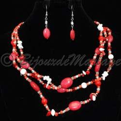 Parure bijoux soirée VERTEX, pierres rouges, structure ton argent