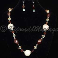Parure bijoux Ascelle, pierres coloris brun, structure ton argent