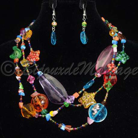 Parure bijoux ÎLes, pierres multicolores, structure ton argent