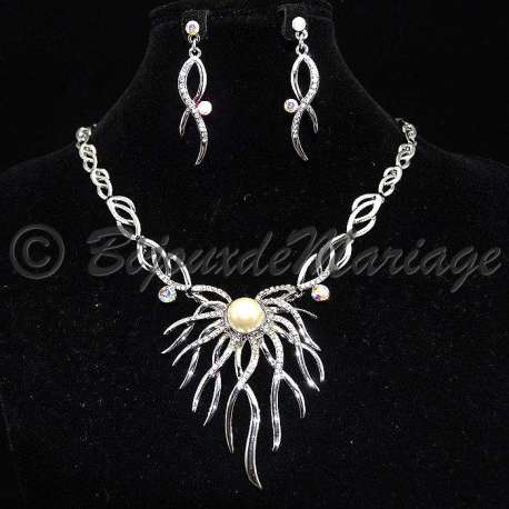 Parure bijoux Hélix, cristal AB, 1 perle centrale, structure rhodiée