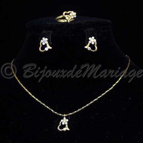 Parure bijoux Élia, cristal AB, structure ton or