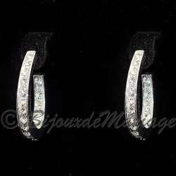 Boucles d'oreilles Oriane, cristal structure ton argent
