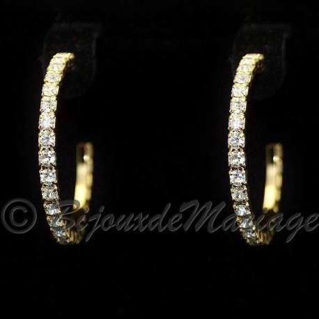 Boucles d'oreilles Doriane, cristal, structure ton or