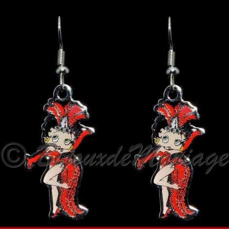 Boucles d'oreilles Betty Boop fait sa revue, structure ton argent