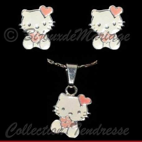 Parure bijoux Kitty cœurs, structure ton argent