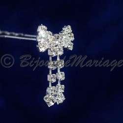 Epingle à cheveux, pic chignon, noeud papillon avec pendants, ton argent