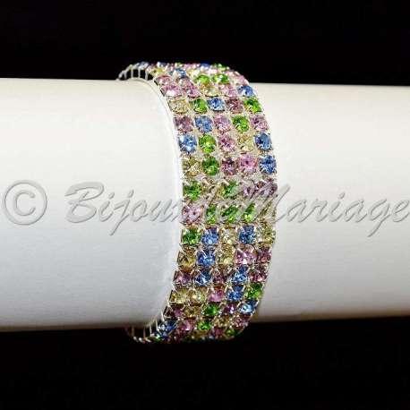 Bracelet mariage 5 rangs, multicolore