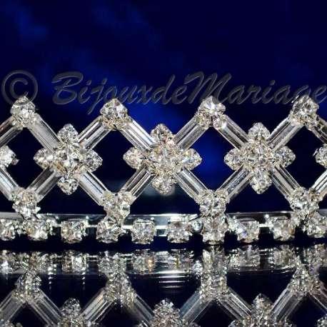 Diadème mariage SUD de FRANCE, ton argent, détail motif