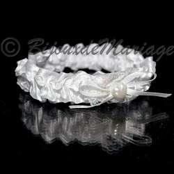 Jarretière de mariage, coeur de perle, coloris blanc