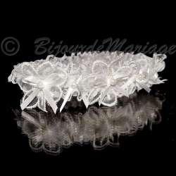 Jarretière de mariage, suite de perles, coloris blanc
