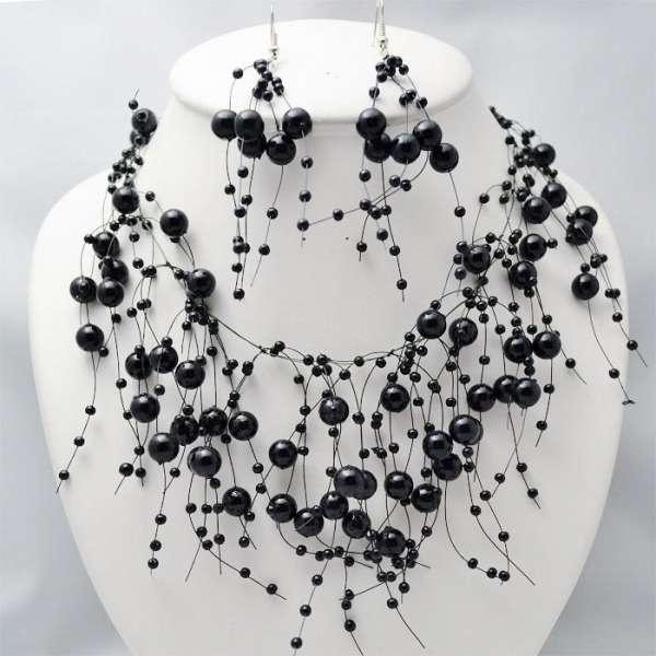 """Parure de bijoux perles Fuchsia collier boucles d/'oreilles mariage /""""déferlante/"""""""
