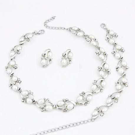 Parure de bijoux mariage ALICE, cristal et perles