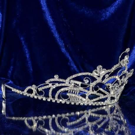 Diademe mariage NAPLES, cristal, structure ton argent, vue latérale
