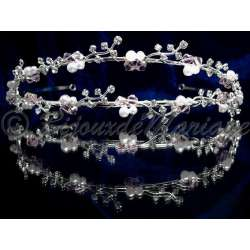 Diademe mariage PINK, cristal rose tendresse, perles, structure ton argent