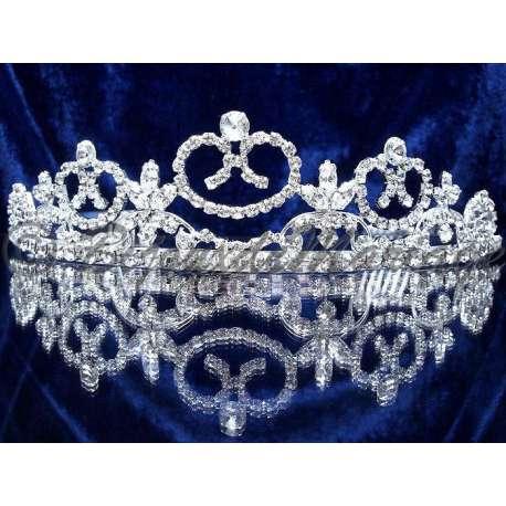 Diademe mariage ENVOL, cristal, structure ton argent