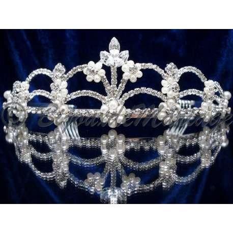 Diademe mariage EXCEPTION, cristal et perles, structure ton argent