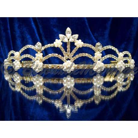 Diademe mariage EXCEPTION, cristal et perles, structure ton or