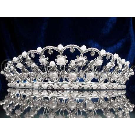 Diademe mariage PROMESSE, cristal et perles, structure ton argent
