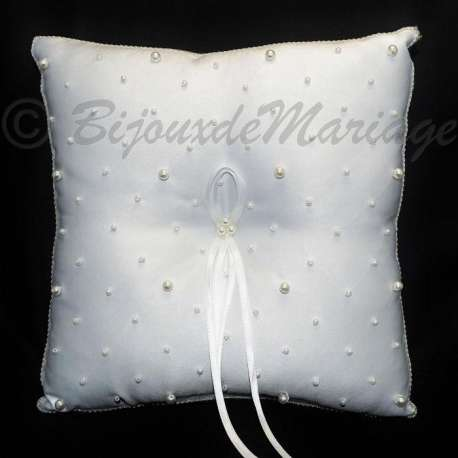 Coussin porte-alliances blanc, perles CPA 001