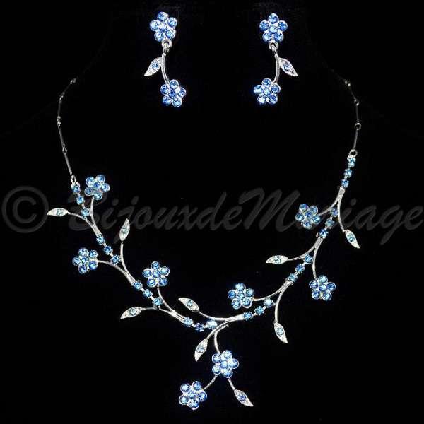parure de bijoux de mariage fleurs cristal clair ou. Black Bedroom Furniture Sets. Home Design Ideas