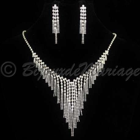 Parure bijoux mariage DIVINE, cristal, structure ton argent